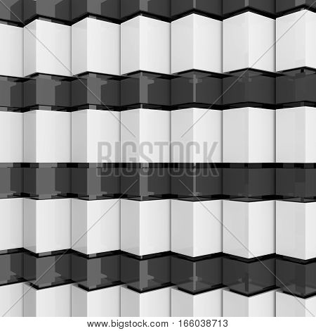 Futuristic black and white architecture background. Abstract architectural building of the future. 3D rendering.