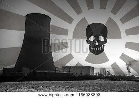 nuclear power plant sunset sunrise dawn black and white Radiation of soil environment