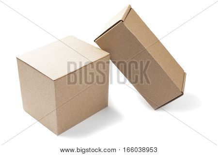 Two cardboard boxes on a isolated white background
