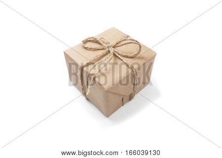 gift box of kraft paper with a bow on isolated white background