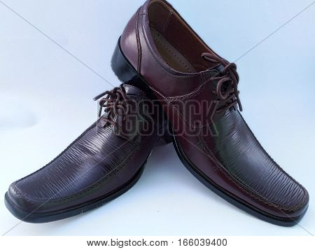 photo cool man leather shoes brown color