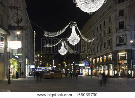 VIENNA, AUSTRIA - JANUARY 3 2016: Night view of Graben street in Vienna during Christmas holiday long exposure shot