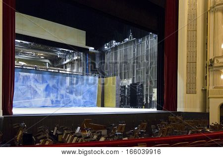VIENNA, AUSTRIA - JANUARY 2 2016: Backstage of Vienna Opera house with the orchestra's places