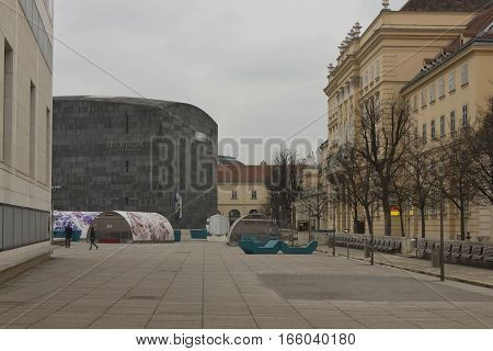 VIENNA, AUSTRIA - JANUARY 3 2016: Museum quartier in Vienna at day time central square with Mumok museum nobody around