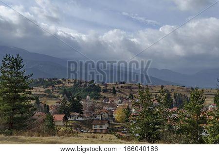 Residential district of bulgarian houses in the beautiful village, Rila mountain, Bulgaria
