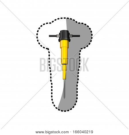 dotted sticker demolition drill tool icon vector illustration