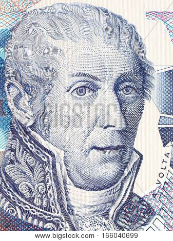 Alessandro Volta portrait from Italian money - 10000 Lire