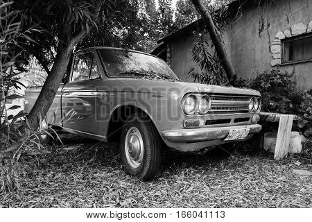 Closeup View Of Old Datsun 1300 Pickup Car