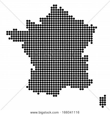 The Map Of France. Silhouette of France made of round dots. Original abstract vector illustration.