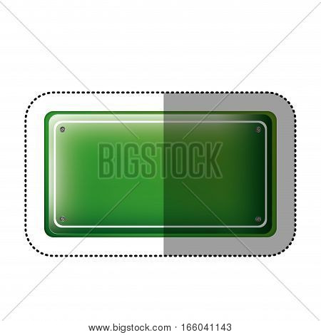 dotted sticker rectangle of road sign green vector illustration