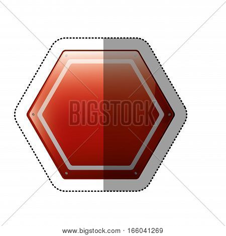 dotted sticker hexagon of road sign red vector illustration