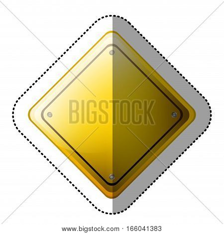 dotted sticker rhombus safety road sign yellow vector illustration