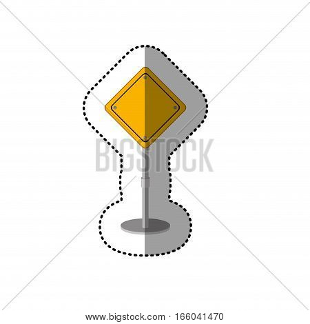 dotted sticker yellow road sign vector illustration