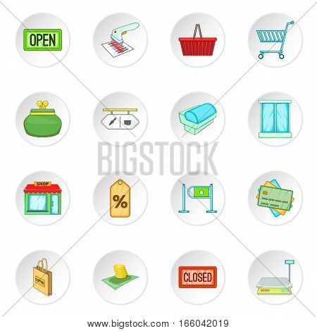 Retail icons set. Cartoon illustration of 16 retail vector icons for web