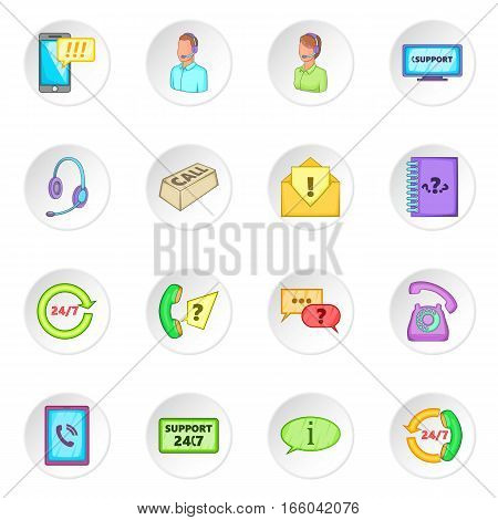 Call center icons set. Cartoon illustration of 16 call center vector icons for web