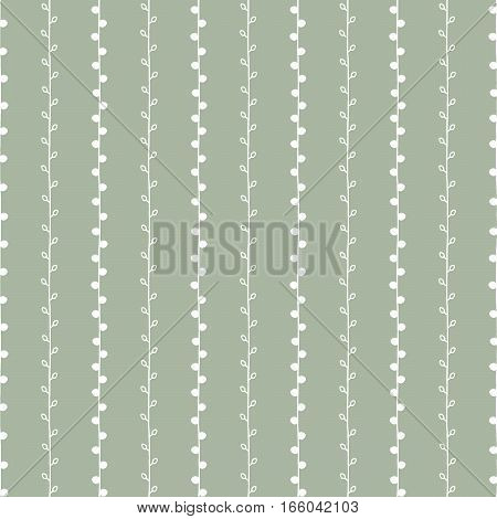 Seamless nature sketch vector pattern. White twigs on green background. Hand drawn texture illustration