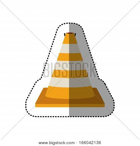 dotted sticker striped traffic cone degrade vector illustration