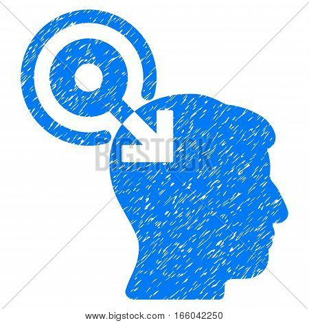 Brain Interface Plug-In grainy textured icon for overlay watermark stamps. Flat symbol with unclean texture. Dotted vector blue ink rubber seal stamp with grunge design on a white background.