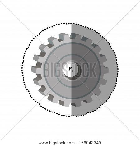 dotted sticker gear wheel icon degraded vector illustration