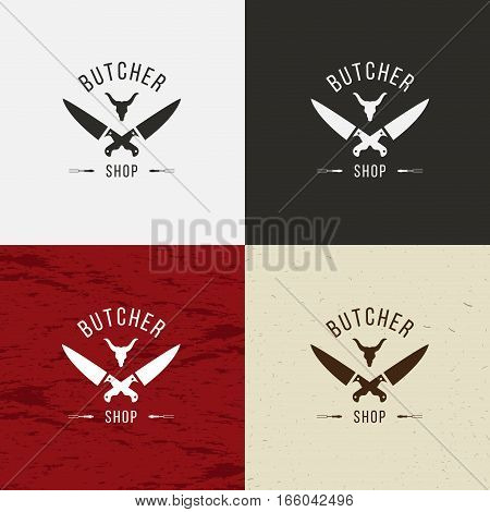 Butcher Shop icon vector Butcher Shop logo isolated Butcher Shop emblem. On white black crafting and meat background