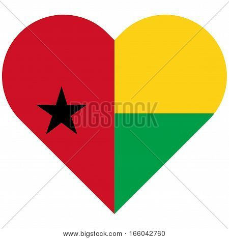 Guinea-bissau Flat Heart Flag