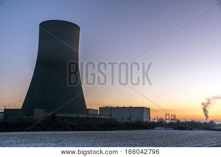 nuclear power plant sunset sunrise dawn Radiation of soil environment