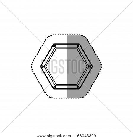 gray silhouette dotted sticker hexagon of road sign vector illustration