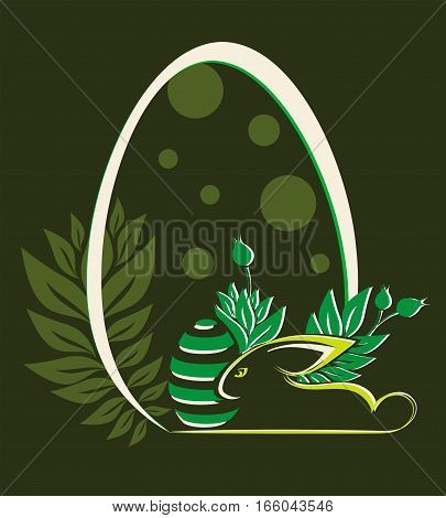 Design from silhouettes of Easter eggs sits at the bottom of the Bunny on a background of bushes with buds of flowers
