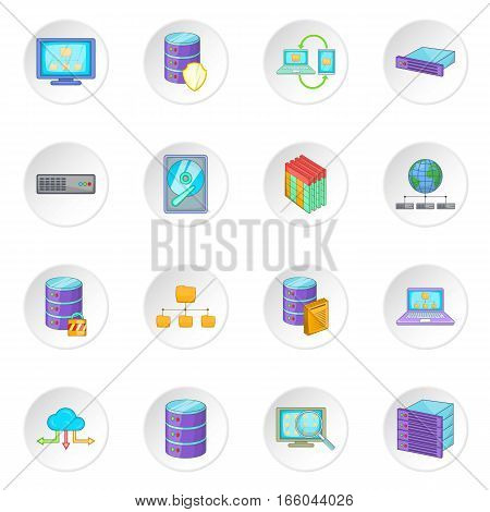 Data base icons set. Cartoon illustration of 16 data base vector icons for web