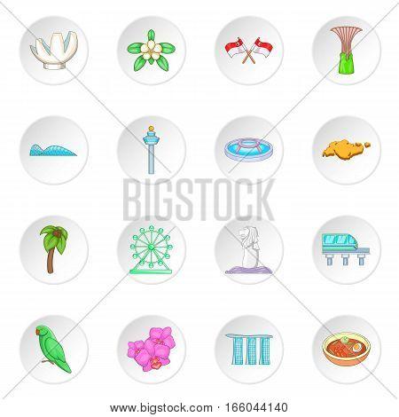 Singapore travel icons set. Cartoon illustration of 16 Singapore travel vector icons for web