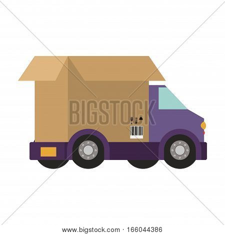 transport truck with wagon of packing box vector illustration