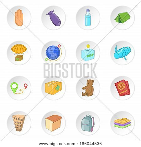 Refugees icons set. Cartoon illustration of 16 refugees vector icons for web