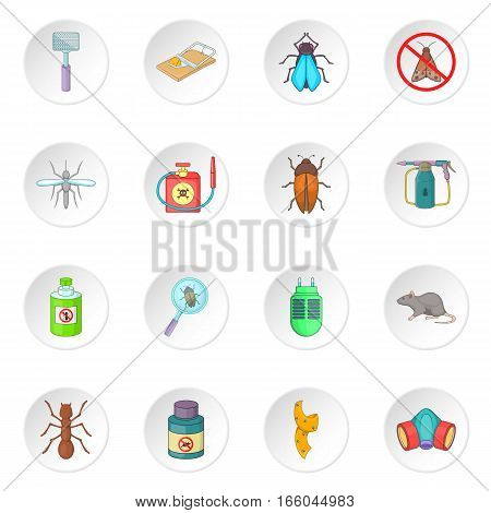 Exterminator icons set. Cartoon illustration of 16 exterminator vector icons for web