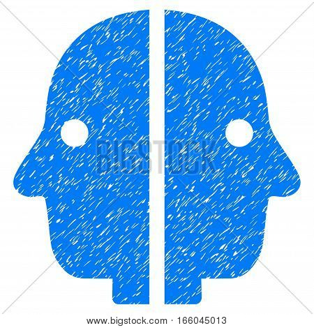 Dual Face grainy textured icon for overlay watermark stamps. Flat symbol with dirty texture. Dotted vector blue ink rubber seal stamp with grunge design on a white background.