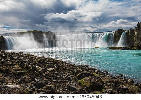 bottom view of Godafoss waterfall in Iceland