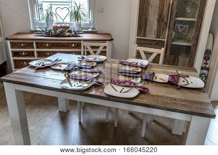 Festive table setting decoration christmas with snowman shape