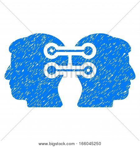 Dual Heads Interface Connection grainy textured icon for overlay watermark stamps. Flat symbol with unclean texture. Dotted vector blue ink rubber seal stamp with grunge design on a white background.