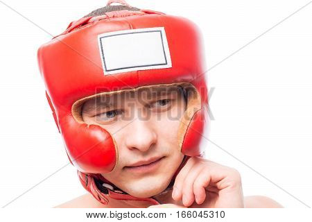A Young Man In A Boxing Helmet, Face Closeup