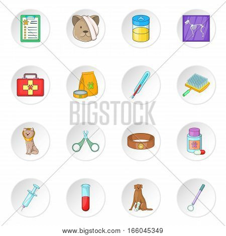 Veterinary clinic icons set. Cartoon illustration of 16 veterinary clinic vector icons for web