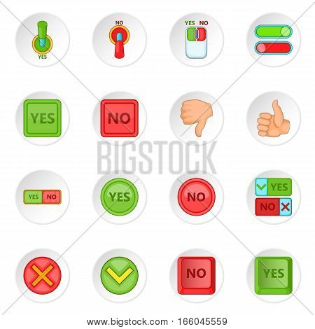 Yes no icons set. Cartoon illustration of 16 yes no vector icons for web
