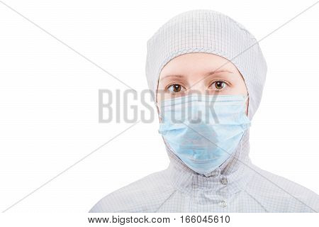 Biochemist Portrait Of A Woman In A Protective Suit On A White Background Isolated