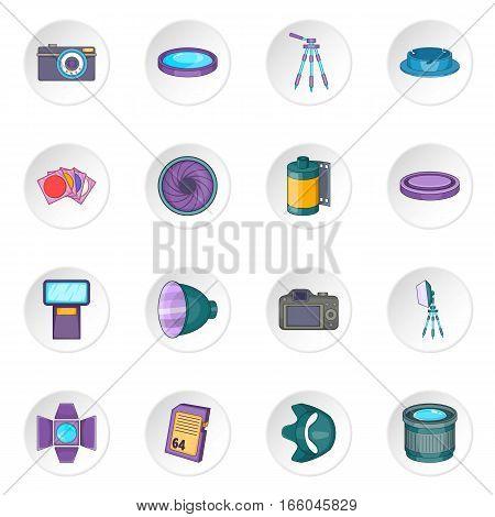 Photo studio icons set. Cartoon illustration of 16 photo studio equipment vector icons for web