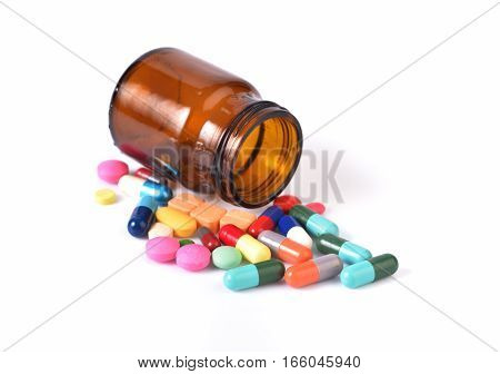 Recipient Of Medicine And Many Pills Isolated On White Background