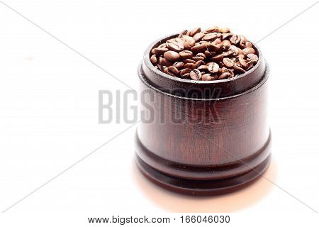 bean brown wooden box isolated on white background