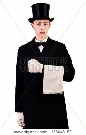 Young men with suit and top hat white gloves and towel isolated on white background