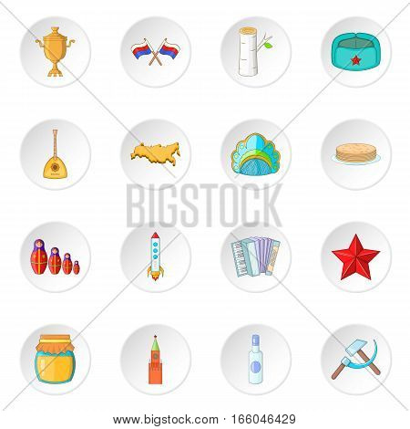 Russia icons set. Cartoon illustration of 16 Russia travel items vector icons for web