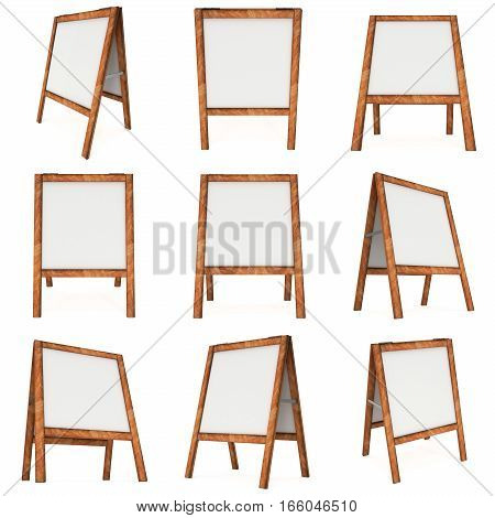 Sandwich board Set. Blank menu outdoor display with clipping path. Trade show booth. 3d render isolated on white background. High Resolution Template for your design.