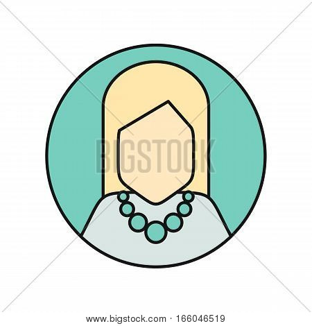 Young woman private avatar icon. Young blonde woman in blue dress with necklace. Social networks business private users avatar pictogram. Round line icon. Isolated illustration on white background.