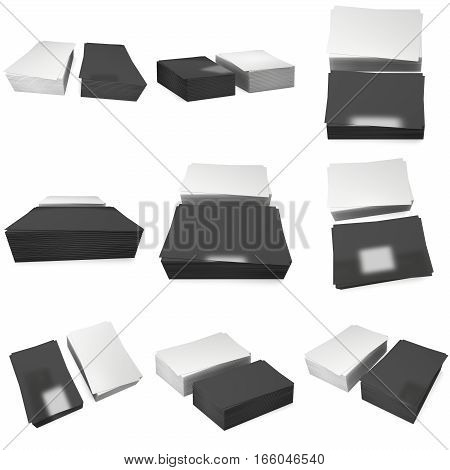Stack of black business cards set. 3d render isolated on white background. Name cards as a presentation for promotion of corporate identity