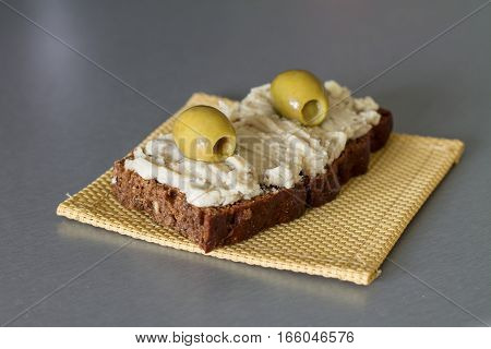 Vorschmack or forshmak is Jewish cuisine dish made of salty minced fish, egg, apple on wholegrain bread.